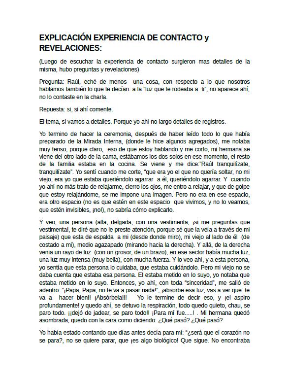 Raúl Valenzuela - Explicación Experiencia de Contacto